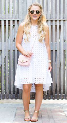 White Eyelet Dress Living In Color Print Dress Outfits, Casual Dresses, Short Dresses, Fashion Outfits, Chic Summer Outfits, Summer Dresses, White Eyelet Dress, Little White Dresses, African Fashion Dresses