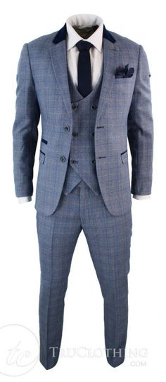 BLUE CHECK MENS MARC DARCY FORMAL SMART CHECK V-NECK SB WAISTCOAT HILTON