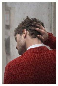 Seed stitch sweater in a delicious red.