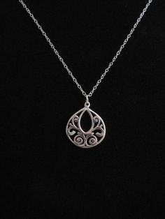 Filigree Necklace Filigree Pendant Silver by BellaBoutiqueCrafts