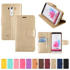 LG G3 Case Goospery Sonata Diary Stand Wallet Cover Material: PU Synthetic Leather 3Card Pocket Plus Paper Bill Slot with magnetic closure. Specially molded inner TPU lining to keep your phone well protected with a tight fit. Made in South Korea