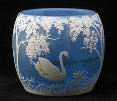 Daum Nancy Art Nouveau Cameo Art Glass Vase Depicting A Lake And Swan