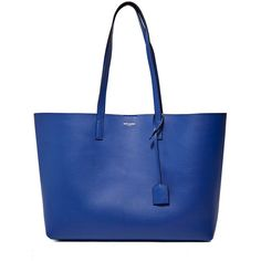 Saint Laurent Pre SS16: Saint Laurent Leather Shopper Bag (€685) ❤ liked on Polyvore featuring bags, handbags, tote bags, blue, blue tote bag, blue tote, leather tote, leather purses and leather handbags