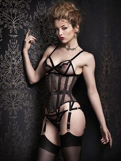 "Orchid Corsetry ""Dusk"" lingerie set paired with a sheer lace corset 