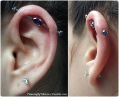 Another fancy Industrial piercing with prong-set marquee Amethyst gem center and prong-set Amethyst gem ends from ANATOMETAL.3rd one this we...