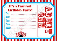 Free Printable Carnival Party Invitations | Circus Invitation Canrival Invitation Carnival Birthday Party Circus ...