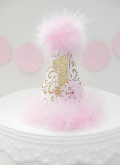 MINI Snowflake Princess Party Hat - Glitter Gold, White and Pink - Mini Birthday Party Hat