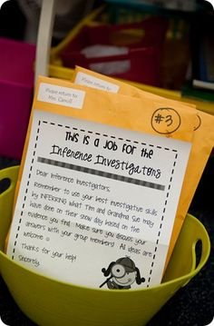 Inspiration! Use large envelopes and printed materials to create detective kits for the kids to collect clues and information about any topic. Could be used for history, science, story analysis, character analysis, almost anything.