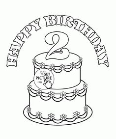 2nd Birthday Cake Coloring Page For Kids Holiday Pages Printables Free