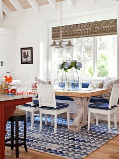navy blue and white banquette and cool ceiling