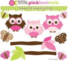 Erin Bradley Designs: NEW! Pink Hoot Owls Clipart