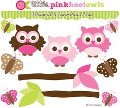 Pink Hoot Owls Clipart by Erin Bradley Designs