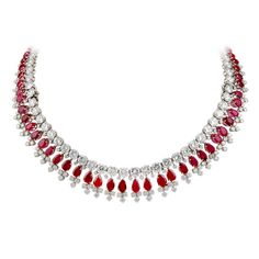 HARRY WINSTON Burma Ruby of Natural Color and Diamond Necklace. Classic, timeless and elegant. Ruby Jewelry, Gems Jewelry, Diamond Jewelry, Fine Jewelry, Jewellery, Jewelry Watches, Jewelry Necklaces, Ruby And Diamond Necklace, Pearl Choker Necklace