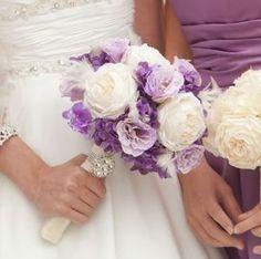 Purple silk flowers wedding bouquet