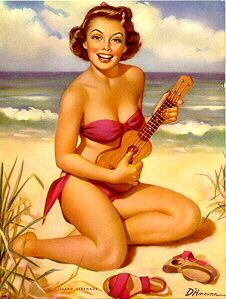 Ukulele pin-up girl at the beach
