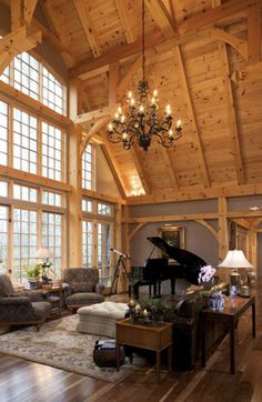 Photo Album Timber Frame Home Environmentally Designed Timber Frame Eco Environmental Building Materials Custom Post & Beam Timber Frame Design Packages Le Living, Home And Living, Living Spaces, Living Room, Beautiful Interiors, Beautiful Homes, Timber Frame Homes, Timber Frames, Architecture Design