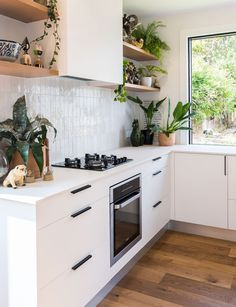 How this family built their first home on a small subdivided section Ikea Kitchen, Home Decor Kitchen, Interior Design Kitchen, Home Kitchens, Kitchen Designs, Floating Shelves Kitchen, Moving House, Kitchen Remodel, Sweet Home
