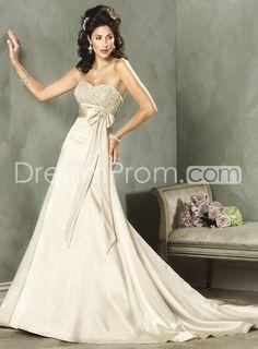 Romentic Color Wedding Dresses Empire Waist Tie Chapel Gowns