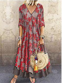 Women's Street chic Maxi Shift Dress - Geometric Print V Neck Green Red Gray M L Women's A Line Dresses, Cheap Maxi Dresses, Half Sleeve Dresses, Necklines For Dresses, Types Of Dresses, Maxi Dress With Sleeves, Casual Dresses, Fashion Dresses, Dresses Dresses