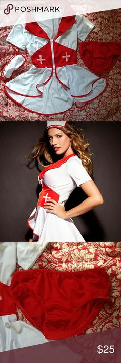 NWOT Adore Me Flirty Nurse Costume This is a new costume without tags, never been worn. Super cute lingerie outfit that comes complete with bottoms and a hat/mask Adore Me Intimates & Sleepwear