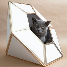 """We made this giant diamond as a wedding card box but quickly learned that it easily doubles as a """"cat house"""" - learn how we made it!"""