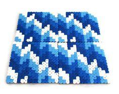 Blue drinks coasters, set of 4, chevron drinks coasters, geometric drinks coasters, hama beads, perler beads