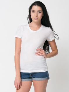 a1f2b825971 American Apparel - Poly-Cotton Short Sleeve Women s T Cotton Shorts