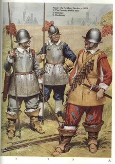 British; Typically armed troops of the London Volunteer forces(c.1620) just prior to the start of the English Civil War. Note the Double armed man who had disappeared from the ranks by the start of the war. From an early issue of Military Illustrated.