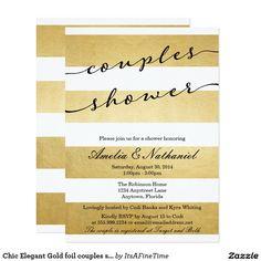 Chic Elegant Gold foil couples shower invition Card