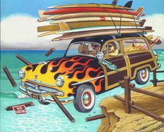 I like the painting,  but I wouldn't drive a woody and That many boards off a cliff!  Waste!