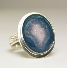 Purple Druzy Ring Sterling Silver Geode by TazziesCustomJewelry