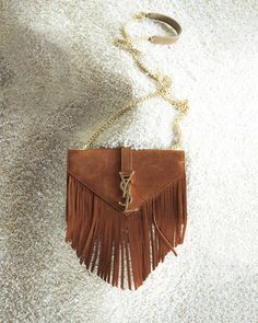 Yves Saint Laurent Monogram Suede Fringe Shoulder Bag, Women\u0026#39;s ...