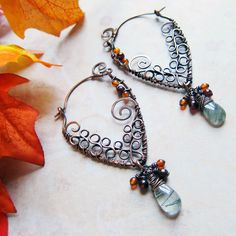 Eternal Autumnvale Earrings Green Rutilated by SihayaDesigns