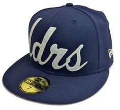 a9a7fbb9978 NEW ERA 59Fifty x LEADERS 1354 LDRS Script Print Fitted Cap Hat Navy Blue  NWT  NewEra  BaseballCap