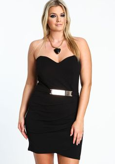 Plus Size Gold Plate Bodycon Dress, BLACK, large