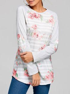 1e754859fd9 Floral Striped Raglan Sleeve Top - LIGHT GRAY XL