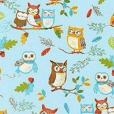 Forest Fellows - Owls Wild Blue Aqua by Sea Urchin Studio from Robert Kaufman Owl Fabric, Robert Kaufman, Modern Fabric, Woodland Animals, Fabric Panels, Ciel, Sewing Patterns, Crafty, Quilts