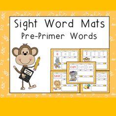 Sight Word Mats: Pre-Primer Words $