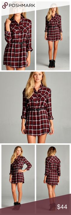 "Count Me In Plaid Dress A Fun Way to Wear Plaid! Burgundy Red, Black, and White Plaid Patterned Shirt Dress. Features a Basic Collar, Half Button Down, Roll Tab Sleeves, Two Chest Pockets, and a Black Braided Belt! Shop Here or at www.shopbelovedboutique.com   Material: 100% Rayon    Measurements: S- B:32"" L:35"" M- B:34"" L:35"" L- B:36"" L:35"" Dresses Long Sleeve"