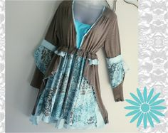 boho fashion for women over 40   Women's unique, handmade, upcycled, recycled, boho chic top, jacket ...