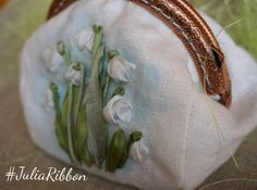 Snowdrops Coin purse embroidery ribbon by JuliaRibbon on Etsy