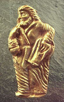 Golden figure of a Scythian man, from Kul-Oba, the grave of a Scythian king in Ukraine. The Scythians were an ancient nomadic group that inhabited the Pontic-Caspian steppe.