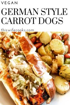 German Style Carrot Dogs - Pan-charred with smoky BBQ spices & served on pretzel buns with spicy brown mustard and a mix of sauerkraut and sweet relish. Vegan Bbq Recipes, Delicious Vegan Recipes, Vegan Foods, Vegan Dishes, Dinner Recipes, Vegan Meals, Grilling Recipes, Dinner Ideas, Carrot Dogs