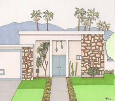 Palm Springs - Mid-Century Modern Houses - Set of 8 Note Cards - 2 of Each Design