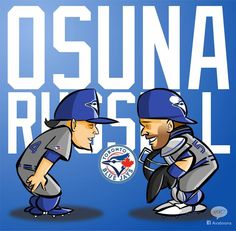 Roberto Osuna, Russell Martin #Blue Jays Russell Martin, American League, Toronto Blue Jays, Go Blue, Baseball Players, Mlb, Sports Teams, Planner Ideas, Raptors
