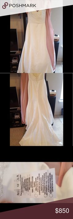 ..Mikaella.. Designer wedding/Prom dress Gorgeous off-white gown with sweetheart neckline, button accents down the back and embroidered lace straps. Mikaella Dresses Wedding