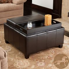 Beautifully designed yet fantastically functional, this leather tray top ottoman serves a number of purposes. With a roomy interior storage space plus reversible trays on top, this ottoman comes in a sleek espresso color to complement any decor.