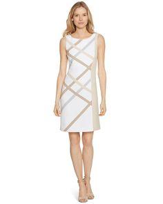 White House   Black Market Sleeveless Neutral Colorblock Dress #whbm  Love this dress!