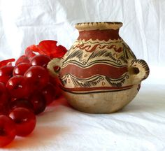 Mexican Red Clay Pottery Treasure Jug Handmade and painted by Craftsmen Signed…
