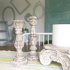 Ornate Candle Holders Gold White Shabby Chic Wedding Table Centerpiece Set of 2 Hand Painted When it comes to decorations for our home or wedding decor, it's important to choose items that reflect our